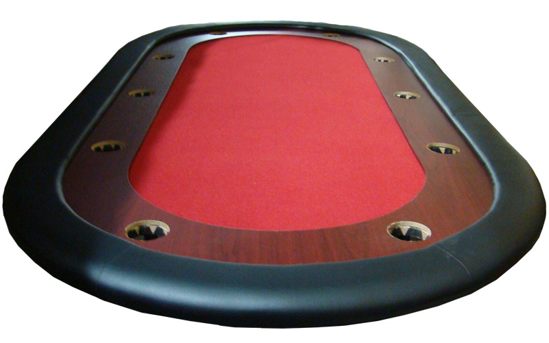 10 Person Folding Poker Table Red W Racetrack