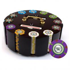 300 mint poker chip set in a wooden chip carousel