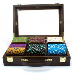 300 The Mint Poker Chip Set in Walnut Case with 3 removable chip trays
