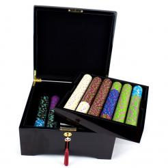 500 The Mint Poker Chip Set in a Mahogany Case