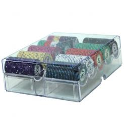 200 scroll poker chip set in an acrylic chip tray with lid