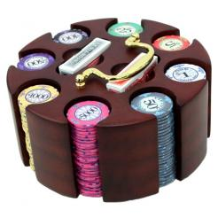 200 scroll poker chip set in a wooden chip carrier