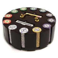 300 scroll poker chip set in awooden chip carousel