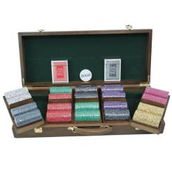 500 Scroll Poker Chip Set in a Walnut Case with 5 removable chip trays