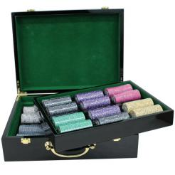 500 scroll poker chip set in a humidor style case