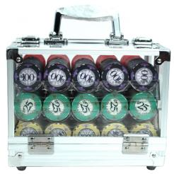 600 scroll poker chip set in an acrylic chip carrier with 6 chip trays
