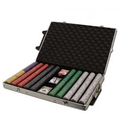 1000 Scroll Poker Chip Set in a Rolling Aluminum Case