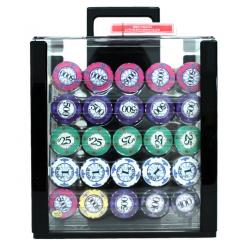 1000 scroll poker chip set in an acrylic chip carrier with 10 chip trays