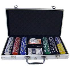 300 Striped Dice Poker Chip Set in an aluminum case