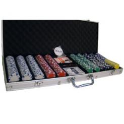 500 Striped Dice Poker Chip Set in an aluminum case