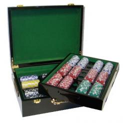 500 Striped Dice Poker Chip Set in a humidor style case