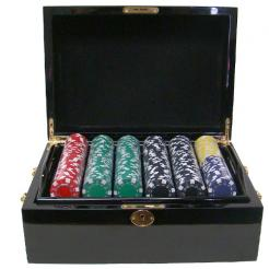 500 Striped Dice Poker Chip Set in a mohogany case