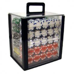 1000 Striped Dice Poker Chip Set in an Acrylic Chip Carrier with 10 chip trays