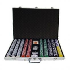 1000 Striped Dice Poker Chip Set in an aluminum case