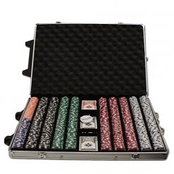 1000 Striped Dice Poker Chip Set in a Rolling Aluminum Case