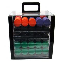 1000 Diamond Poker Chip Set in an acrylic chip carrier with 10 chip trays