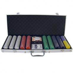 500 suited poker chip set in an aluminum case
