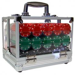 600 suited poker chip set in an acrylic chip carrier with 6 chip trays