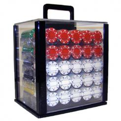 1000 Suited Poker Set in an Acrylic Chip Carrier with 10 Chip Trays