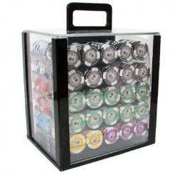 1000 tournament pro poker chip set in an acrylic chip carrier with 10 chip trays