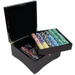 750tournement pro poker chip set in a mahogany case