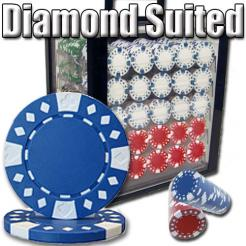 1000 Diamond Suited Poker Chip Set in an Acrylic Chip Carrier with 10 Chip Trays