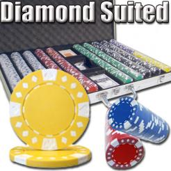 1000 Diamond Suited Poker Chip Set in an Aluminum Case