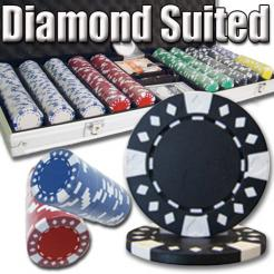 500 Diamond Suited Poker Chip Set in an Aluminum Case