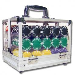 600 Diamond Suited Poker Chip Set in an Acrylic Chip Carrier with 6 chip trays