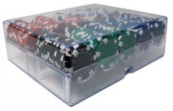 200 Striped Dice Poker Chip Set in an acrylic chip tray with lid