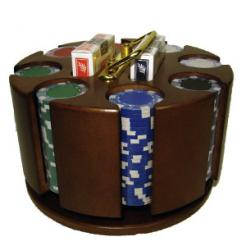 200 Striped Dice Poker Chip Set in a wooden chip carousel