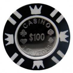 Bundle of 25 black coin inlay poker chips