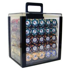 1000 nile club poker chip set in an acrylic chip carrier with 10 chip trays