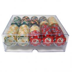 200 Nile Club Ceramic Poker Chip Set in an Acrylic Chip Tray