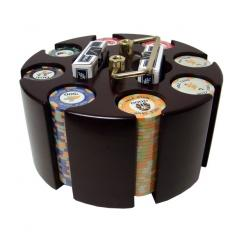 200 Nile Club Ceramic Poker Chip Set in a wooden chip carousel