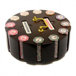 300 nile club poker chip set in a wooden chip carousel