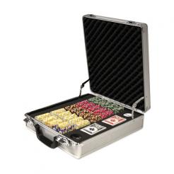 500 Nile Club Poker Chip Set in a Claysmith Aluminum Case with 5 chip trays