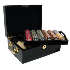 500 nile club poker chip set in a mahogany case