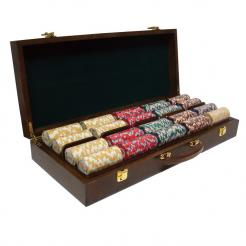 500 Nile Club Poker Chip Set in a Walnut Case