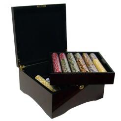 750 nile club poker chip set with a mahogany case