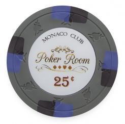 Bundle of 25 Gray Monaco Club Poker Chips - 25 cent value