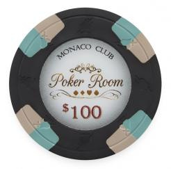 Bundle of 25 Black Monaco Club Poker Chips - $100 chip value