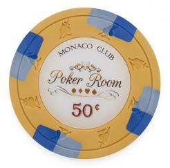 Bundle of 25 Orange Monaco Club Poker Chips - 50 cent value