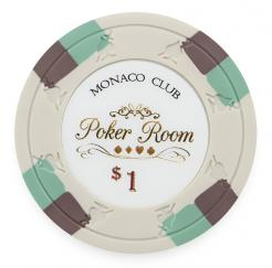 Bundle of 25 White Monaco Club Poker Chips - $1 value