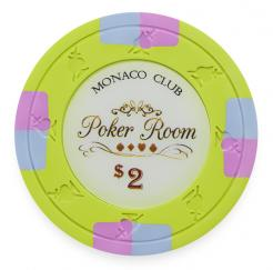 Bundle of 25 Lime Monaco Club Poker Chips - $2 value