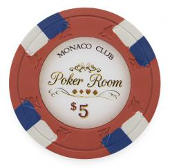Bundle of 25 Red Monaco Club Poker Chips - $5 value