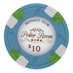 Bundle of 25 Blue Monaco Club Poker Chips - $10 value