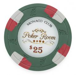 Bundle of 25 Green Monaco Club Poker Chips - $25 value