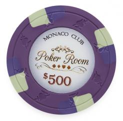 Bundle of 25 Purple Monaco Club Poker Chips - $500 chip value