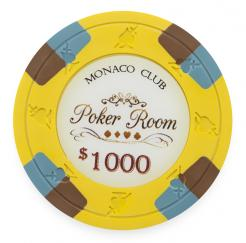 Bundle of 25 Yellow Monaco Club Poker Chips - $1000 chip value